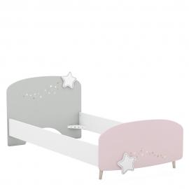 Lastevoodi STELLA valge / roosa / hall 90x200 cm