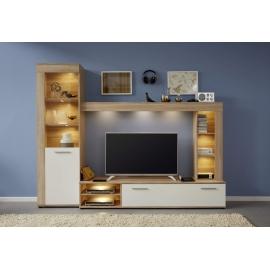 Elutoamööbli komplekt LOGO valge / tamm, 240x41xH185 cm, LED
