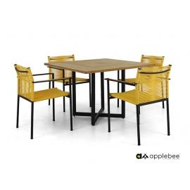 Aiamööbli komplekt Apple Bee JAKARTA mattmust / kollane, 4 tooli + laud
