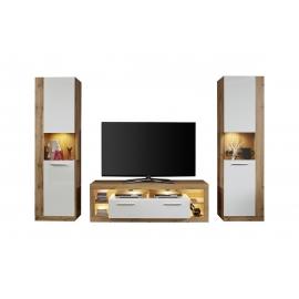 Elutoamööbli komplekt ROCK valge läige / tamm, LED