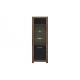 Vitriinkapp Balin tamm / must, 68x39,5xH196,5 cm LED