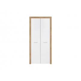 Riidekapp tamm / valge, 90x51,5xH192 cm