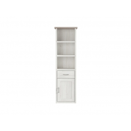 Raamaturiiul LUCA JUZI valge / tamm, 60x43xH200,5 cm