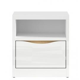 Öökapp PORI valge läige / tamm, 41,5x40xH46 cm