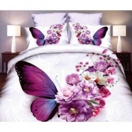 3D 4 osaline voodipesukomplekt Liblikas, 160x200 cm