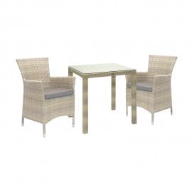 Aiamööbli komplekt WICKER laud ja 2 tooli, beež